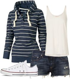 My idea of summer/fall weekend casual. Basic striped hoodie (I love hoodies), white tanktop (also love layering white tanks) denim, and low cut Chuck Taylors (I own a grey pair and plan on getting a white pair). Fashion Moda, Look Fashion, Womens Fashion, Petite Fashion, Fashion 2018, Curvy Fashion, Ladies Fashion, Fall Fashion, Mode Outfits
