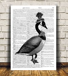 Pretty contemporary Dictionary decor. Gorgeous Bird print for your home and office. Adorable Animal print. Amazing Goose poster. SIZES: A4 (8.3 x