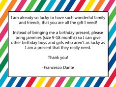 No Gift For Birthday Party Wording