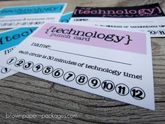 "Great idea. One card per week and each circle is worth 30 minutes of ""Technology Time""."