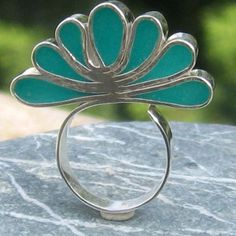 Peacock's tail Turquoise- Adjustable Silver Ring Contemporary design Statement ring. by Lanka925, via Etsy.