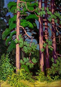 """Lawren Harris, Group of Seven, Canadian Artist, """"Trees, Algonquin Park"""" (I notice a resemblance to the fluid approach of Emily Carr in her paintings of trees . though the two were very much apart geographically speaking. Tom Thomson, Group Of Seven Artists, Group Of Seven Paintings, Canadian Painters, Canadian Artists, Landscape Art, Landscape Paintings, Landscapes, Paintings Of Trees"""