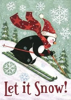 Christmas Penguin, Skiing, Tall -- by Jennifer Brinley