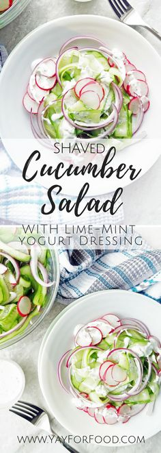 This delicious cucumber salad with homemade lime-mint yogurt dressing is healthy, refreshing, ready in ten minutes, and goes wonderfully as a side dish for chicken, beef, or fish. vegetarian | gluten-free