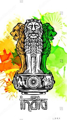 Lion capital of Ashoka in Indian flag color. Emblem of India. W atercolor texture backdrop. Indian Flag Pic, Indian Flag Colors, Indian Flag Images, Indian Gods, Indian Tiranga, Indian Symbols, Independence Day Drawing, Independence Day India, Independence Day Poster