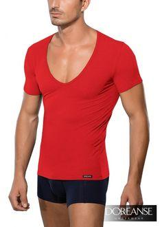 DA2820 - #Slim-Fit T-Shirt Tiefer Ausschnitt #DeepNeck in vielen Farben unter doreanse-shop.com