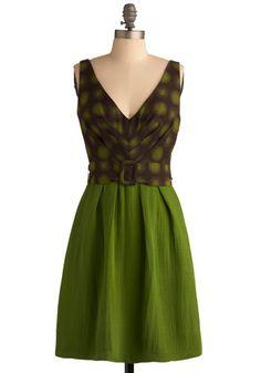 Lindy Hop Dress - Avocado Green and Brown 1960s Retro Dress - Avocado Green Wedding Inspiration