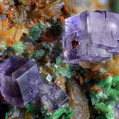 Fluorite, Zeunerite | #Geology #GeologyPage #Mineral    Locality: Montoso Quarries, Bagnolo Piemonte, Cuneo Province, Piedmont, Italy    Field of View: 4.74 mm   Photo Copyright ©️️ Giuseppe Finello   Geology Page  www.geologypage.com    #Regram via @geologypage