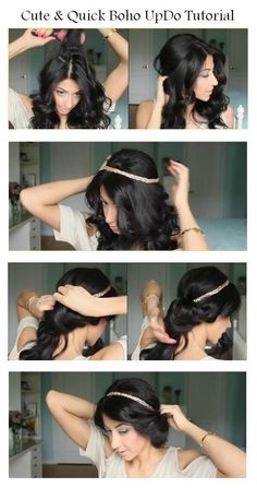 Try this hairstyle for short hair that's anything but predictable. cute boho updo her hair Hair short hair Boho Updo Hairstyles, Updo Hairstyles Tutorials, My Hairstyle, Hair Updo, Pretty Hairstyles, Wedding Hairstyles, Headband Updo, Hairstyle Ideas, Braid Tutorials