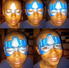 Step by Step Transformers Optimus Prime Face Painting.