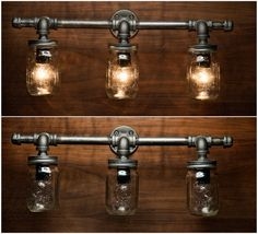 3 Mason Jar Light Pipe Light Vanity Light by EyeKandyPipeWorks