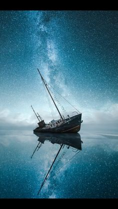 Shipwreck under the Milky Way
