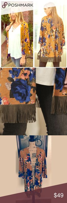 Boho Chic Fringed Kimonos  Great for fall mustard floral print boho chic fringed kimono.  Trimmed with so soft olive faux suede fringe at the bottom. Made in the USA. 95% Polyester 4% spandex. This beautiful Kimono will go good with any outfit. Available in S & M. Brand new. Infinity Raine Jackets & Coats