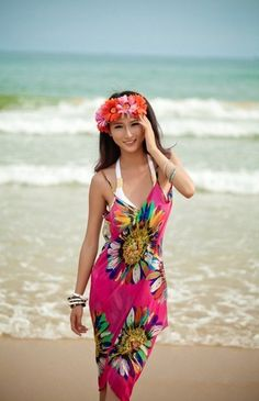 39b00d694ee7e Sexy Swimwear Beach Cover Up Bikini Dress 2017 Summer Women Retro Floral  Chiffon Bikini Cover Up Leisure Dress