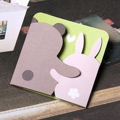 Bear and Bunny Printable Greeting Card - Origami 3 Handmade Greetings, Greeting Cards Handmade, Valentines Day Cards Handmade, Hand Made Greeting Cards, Diy Valentine, Handmade Birthday Cards, Pop Up Cards, Cute Cards, Tarjetas Diy
