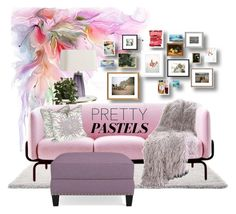 """Pretty Pastels"" by neicy-i ❤ liked on Polyvore featuring interior, interiors, interior design, home, home decor, interior decorating, Kate Spade, Arteriors, Nearly Natural and MOROSO"