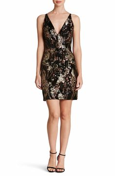 Jordyn Plunge Sequin Body-Con Dress - Dress the Population. Shimmering sequins accentuate the figure-flattering design of this fierce and fancy body-con dress cut with a plunging neckline. Found @ Nordstrom!