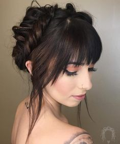 Elegant updo with bangs wedding hairstyles with bangs 53 Popular Medium Length Hairstyles With Bangs in 2019 Medium Length Hair With Bangs, Prom Hair Medium, Short Hair With Bangs, Short Hair Updo, Short Hair Cuts, Medium Hair Styles, Curly Hair Styles, Thin Hair, Medium Hairstyles With Bangs