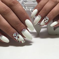 Evening nails, Exquisite nails, Festive nails, Hearts on nails, Long nails, Nails with rhinestones, Nails with rhinestones ideas, Nails with stones
