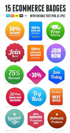 15 Colorful Ecommerce Badges | Buy and Download: http://graphicriver.net/item/15-colorful-ecommerce-badges/6446482?WT.ac=category_thumb&WT.z_author=Romet6&ref=ksioks
