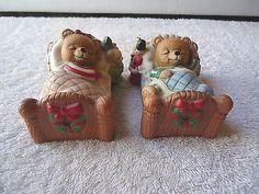 "Vintage Homco # 5803-97 Set Of 2 Sleeping Bears "" VISIONS OF SUGARPLUMS "" BEAUTI #vintage #collectibles #ceramics #home"