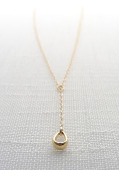 Simple gold lariat necklace  gold teardrop by OliveYewJewels, $35.00