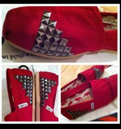 Cool studded red TOMS from I MAKE Things. they sell these studs by the yard at joanns fabrics