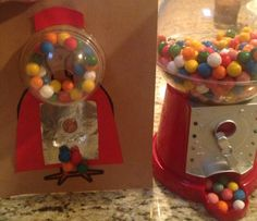Gumball machine turkey disguise - Starbucks dome lid, gumballs, red construction paper, foil and a coin.