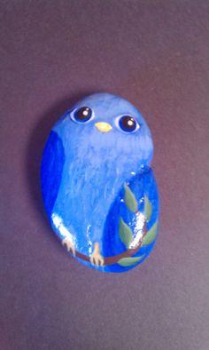 Bluebird hand-painted stone