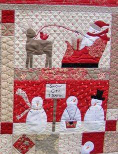 Merry Merry Snowmen, quilted by Tia Curtis Quilts, design by Anne Sutton at Bunny Hill Designs
