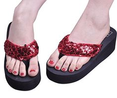 Maybest Womens Sandals Mules Sequin Glitter Sandals Beach Home Slippers Flip Flops Flat Slippers Summer Casual shoes Holiday Accessary  Red 7 B M US  * Be sure to check out this awesome product.