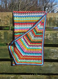 Crochet scrap yarn V-Stitch blanket | Flickr - Photo Sharing!