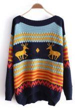 Blue Long Sleeve Deer Print Pullovers Sweater $45.52; omg WANT.