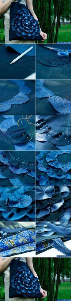 Jeans Tasche Blume