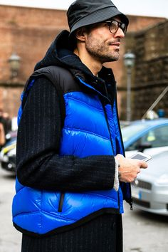 Street Style at Pitti Uomo Shows How to Fashionably Deal With the Cold: Featuring plenty of Balenciaga, Prada and Burberry. Winter Looks, Fall Winter, Balenciaga, Burberry, Vest Jacket, Hypebeast, Prada, Winter Jackets, Menswear