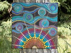 Dot Mandala Sun Painting, 12x12 Acrylic Painting on Stretched Canvas by KailasCanvas on Etsy