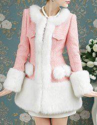 Vintage Jewel Neck Long Sleeves Faux Fur Splicing Coat For Women