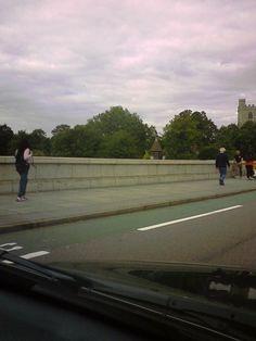 Putney Bridge, the longest bridge in London, with Bishops Park in front.