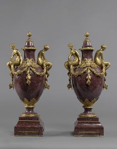 """An Exceptionally Fine Pair of Gilt-Bronze Mounted Porphyry Vases Ca1850 France. 19.69""""H x 9.45""""W x 7.09""""D."""