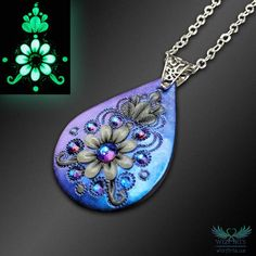Glow-in-the-Dark Teardrop Necklace, Handmade Polymer Clay Jewelry, Iridescent Floral Necklace, OOAK Magical Wearable Art by WizArts. Polymer Clay Pendant, Handmade Polymer Clay, Polymer Clay Jewelry, Clay Beads, Just Love, Art Nouveau, Polymer Clay Embroidery, Teardrop Necklace, Floral Necklace