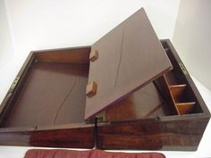 Lap Desk With Lock & Key Methodical Antique Victorian Inlaid Walnut Wooden Writing Slope Writing Slopes