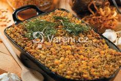 Základ židovského jídla. Nákyp z hrachu, krup a koření. Můžeme použít i fazole nebo jiné luštěniny. Jewish Recipes, Paella, Vegetables, Ethnic Recipes, Food, Vegetable Recipes, Eten, Veggie Food, Meals
