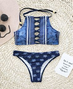 7a9565955f Chicnico Sexy Boho Lace Up Floral Print Bikini Set
