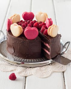 Chocolate Raspberry Layer Cake with Macarons