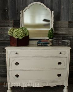 Urban Patina: Shabby Dresser + Mirror Combo ASCP Old White, distressed & waxed. Very pretty!