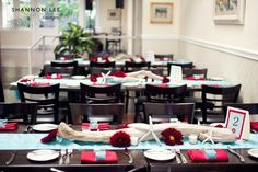 from a red and aqua blue wedding | Photo by www.shannonleeimages.com