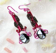 Gypsy Boho Earrings Pink Neon Black & White Art by MoonstoneMary, $49.00