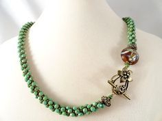 Turquoise Picasso Faceted Glass Kumihimo Braid by JewelrybyPJ