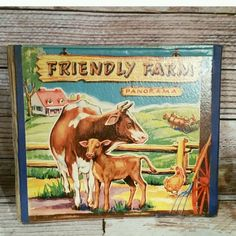 """FRIENDLY FARM PANORAMA was published 1945 in NY, designed and created by Domesday Press and distributed by J L Schilling Co measuring 10 1/4"""" x 8 3/4""""."""