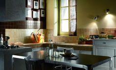 Brown Drago Moka Kitchen Tiles Brown Kitchen Tiles, Brown Kitchens, Kitchen Cabinets, Moka, Contemporary, Interior Design, Table, House, Furniture